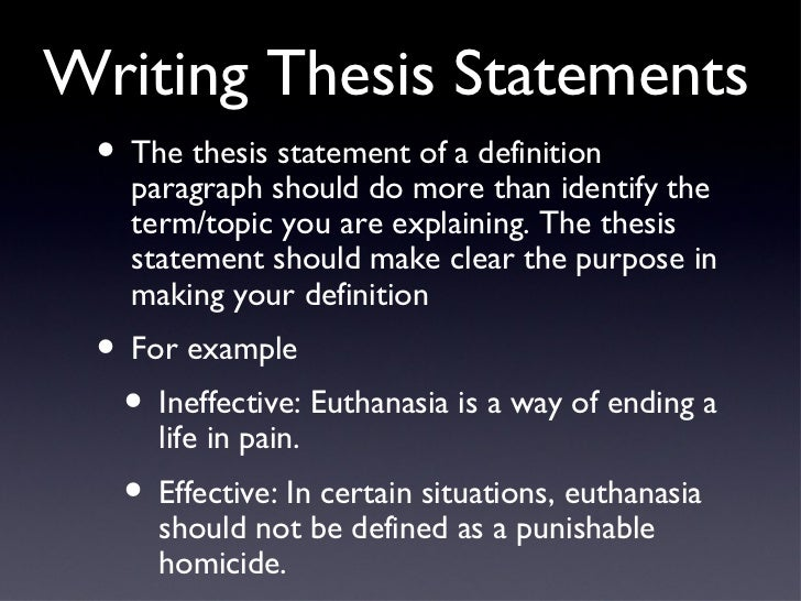 Explanation of thesis statement