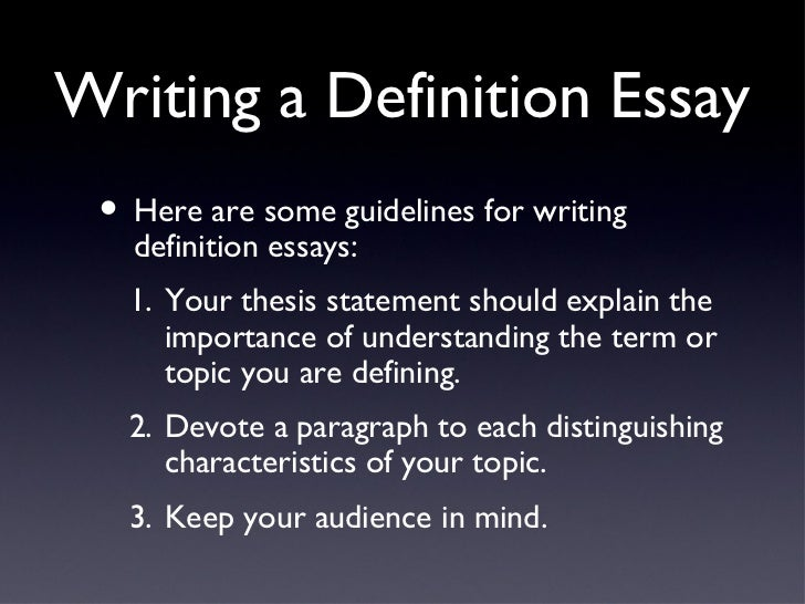 Beginning an essay with a definition