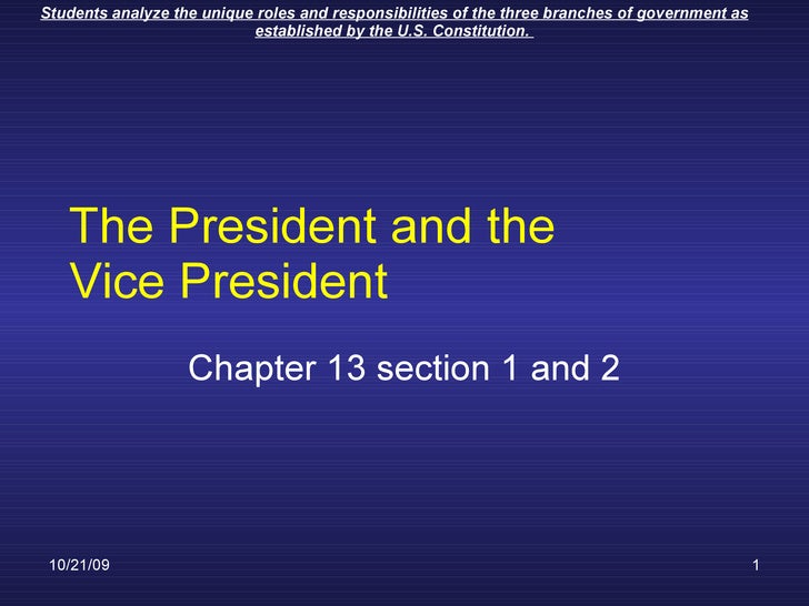 The President and the Vice President Chapter 13 section 1 and 2