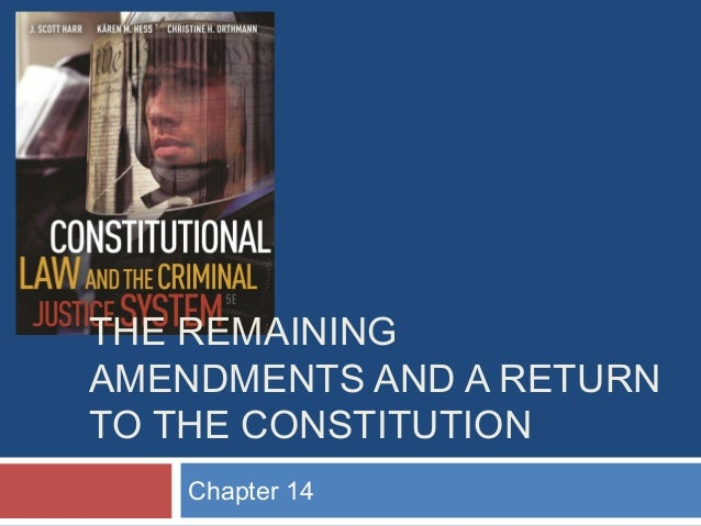 THE REMAINING AMENDMENTS AND A RETURN TO THE CONSTITUTION Chapter 14