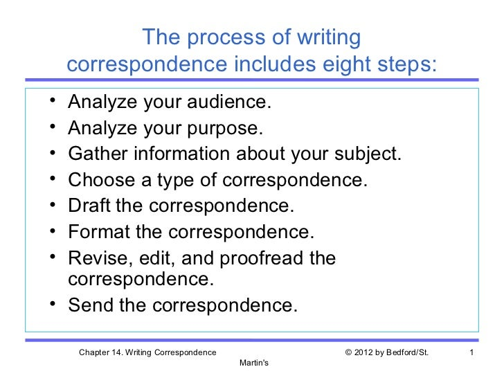 The process of writing    correspondence includes eight steps:• Analyze your audience.• Analyze your purpose.• Gather info...