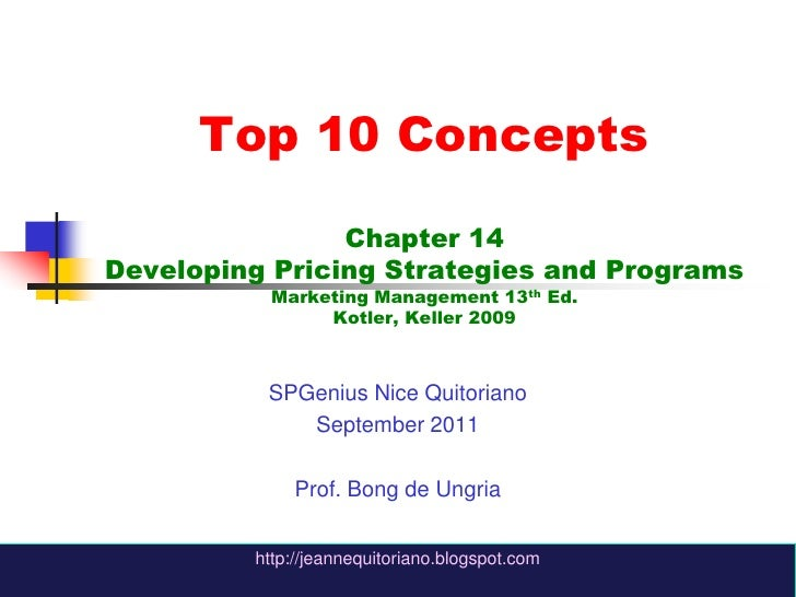 Chapter 14 -  Developing Pricing Strategies and Programs