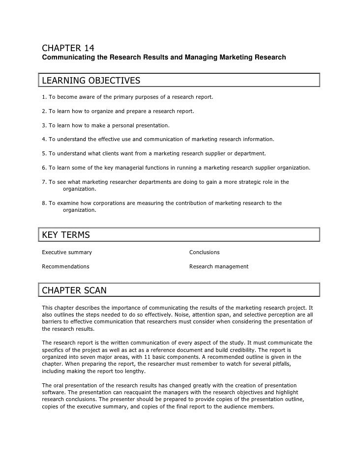 CHAPTER 14 Communicating the Research Results and Managing Marketing Research   LEARNING OBJECTIVES 1. To become aware of ...
