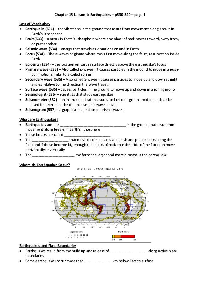 Chapter 15 Lesson 1: Earthquakes – p530-540 – page 1 Lots of Vocabulary  Earthquake (531) – the vibrations in the ground ...