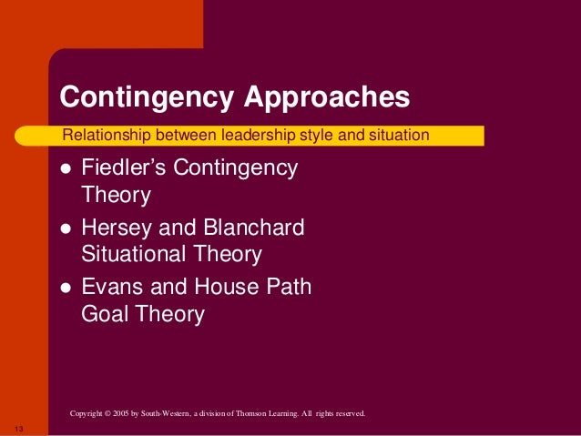 style contingency situation Why should a leader adapt their own leadership style contingency leadership the organization to find the right leader to fit their situation even if that.