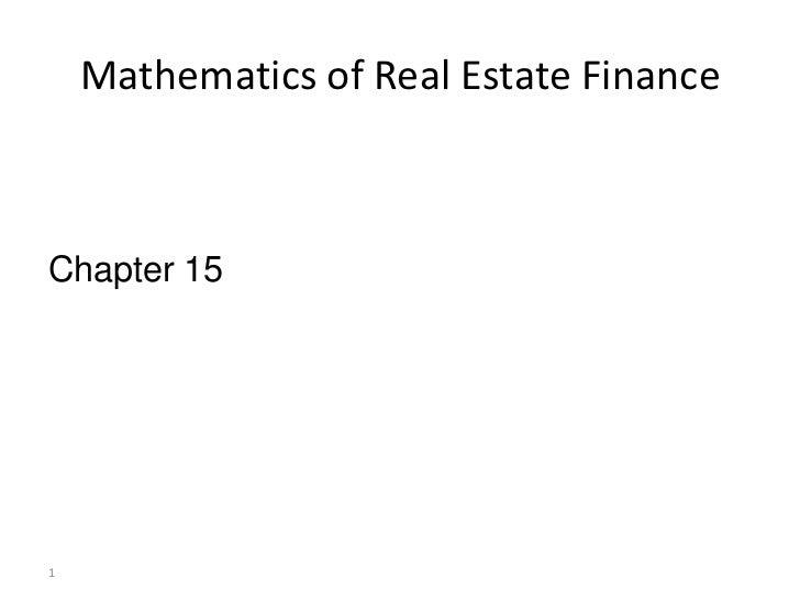Mathematics of Real Estate FinanceChapter 151