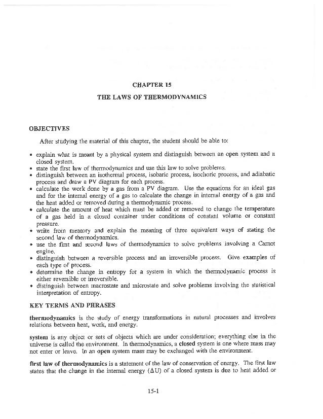 Ch 15 the laws of thermodynamics