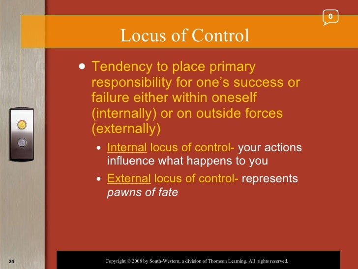 emotional intelligence and locus of control And emotional intelligence a weak association was found between impression management and external locus of control and an insignificant, yet negative, correlation was found between emotional intelligence and locus of control further analyses, implications and future research recommendations are provided.