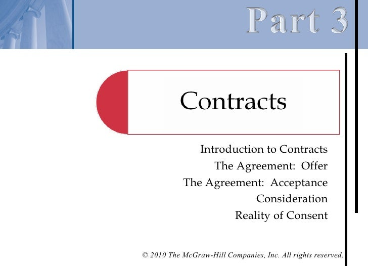 Introduction to Contracts                  The Agreement: Offer            The Agreement: Acceptance                      ...