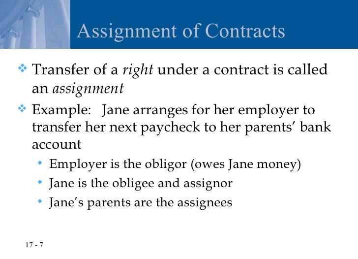 Assignment of contract rights