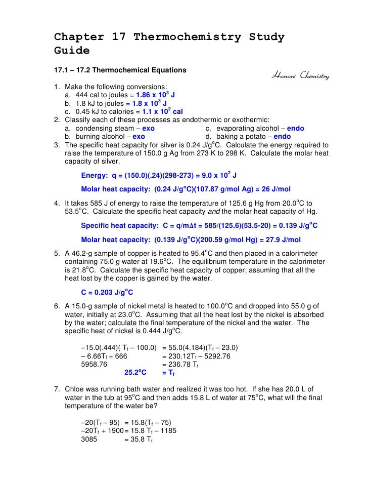 Chapter 17 Thermochemistry StudyGuide17.1 – 17.2 Thermochemical Equations                                                 ...