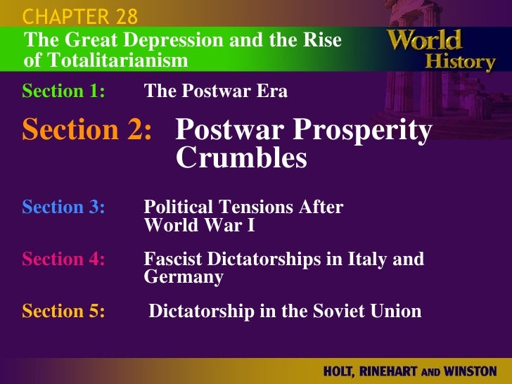 CHAPTER 28 Section 1: The Postwar Era Section 2: Postwar Prosperity  Crumbles Section 3: Political Tensions After  World W...