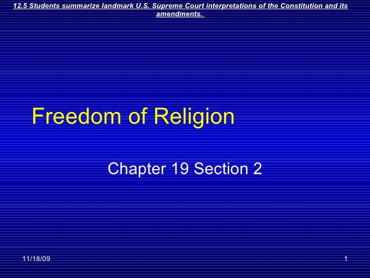 Freedom of Religion Chapter 19 Section 2