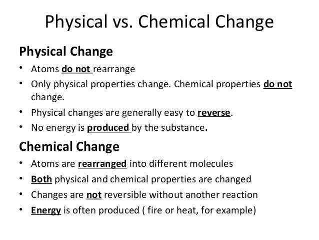 physical and chemical change essay question Here are some examples of physical changes and chemical changes, along with an explanation of how you can tell physical and chemical changes apart.