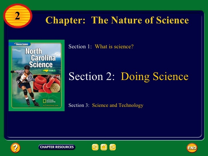 Chapter:  The Nature of Science Section 3:  Science and Technology Section 1:  What is science? Section 2:  Doing Science 2