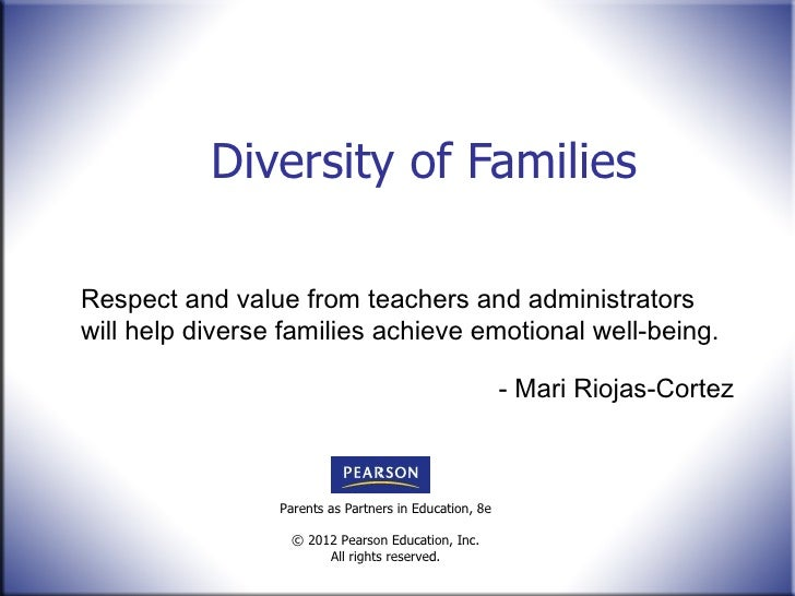 Diversity of Families Respect and value from teachers and administrators will help diverse families achieve emotional well...