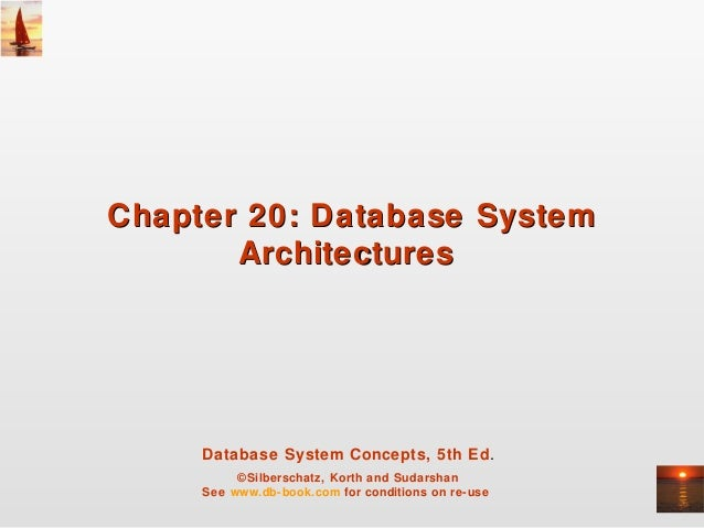 Chapter 20: Database System Architectures  Database System Concepts, 5th Ed. ©Silberschatz, Korth and Sudarshan See www.db...