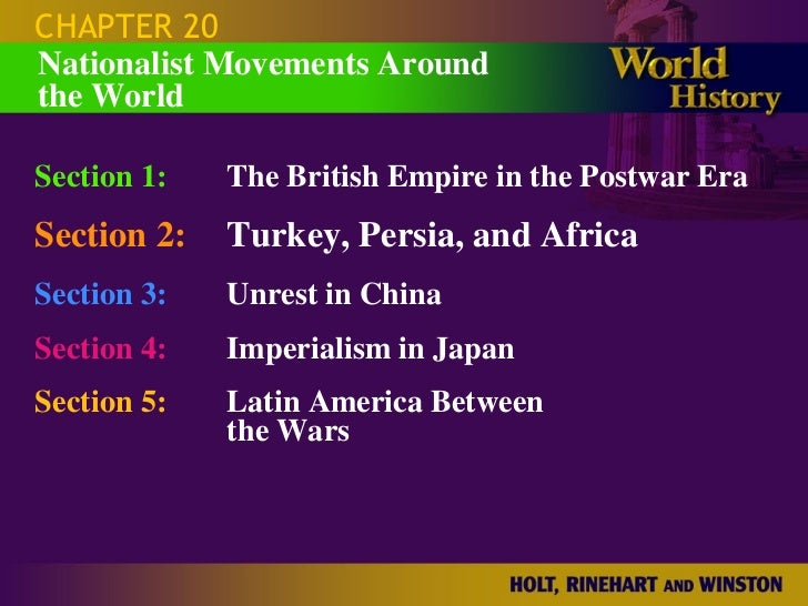 CHAPTER 20 Section 1: The British Empire in the Postwar Era Section 2: Turkey, Persia, and Africa Section 3: Unrest in Chi...