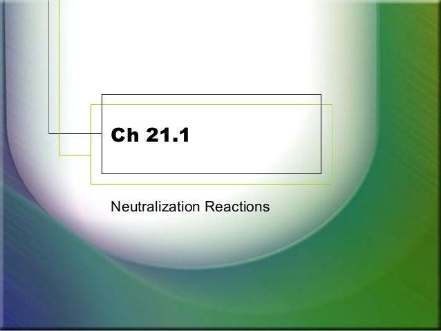Ch 21.1 Neutralization Reactions