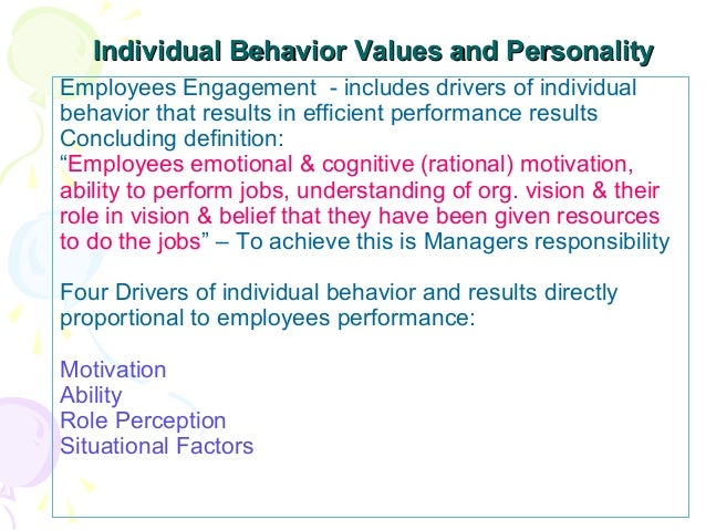 individual behavior work There are five models of organizational behavior in the workplace the loyalty is to the bigger goal, and team responsibility rather than to an individual.