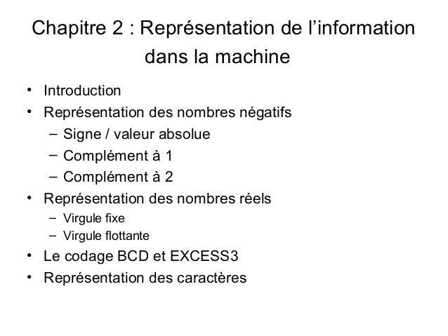 Chapitre 2 : Représentation de l'information             dans la machine• Introduction• Représentation des nombres négatif...