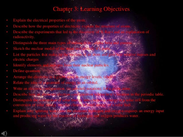 Chapter 3: Learning Objectives•   Explain the electrical properties of the atom.•   Describe how the properties of electri...