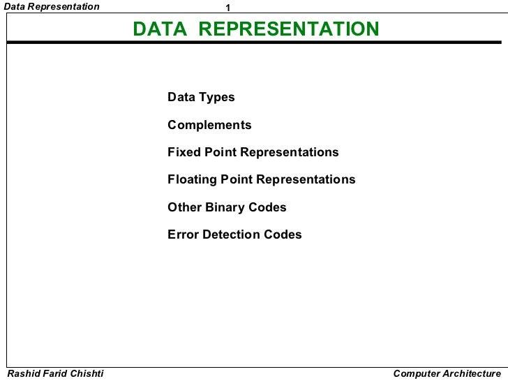 Data Representation               1                       DATA REPRESENTATION                         Data Types          ...