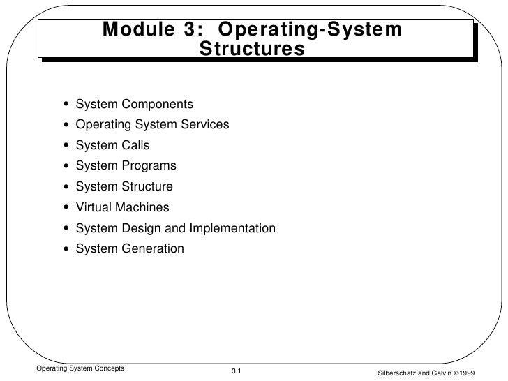 Module 3:  Operating-System Structures <ul><li>System Components </li></ul><ul><li>Operating System Services </li></ul><ul...