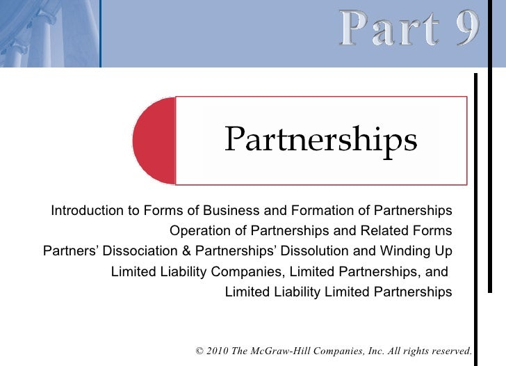 Introduction to Forms of Business and Formation of Partnerships                     Operation of Partnerships and Related ...