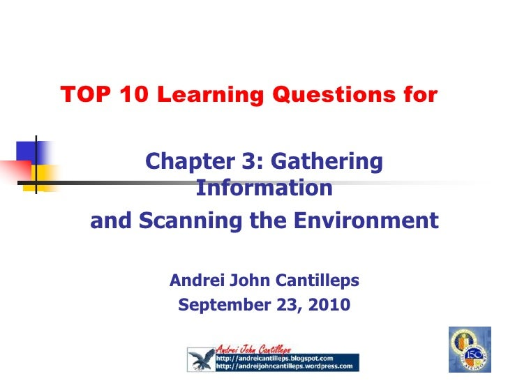 Top Ten Learning questions for Chapter 3