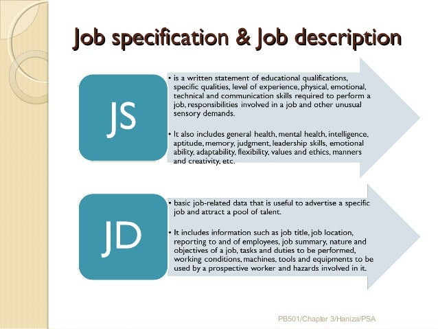 job description and specification The article presents you all the important differences between job analysis and job description in the preparation of job description and job specification.
