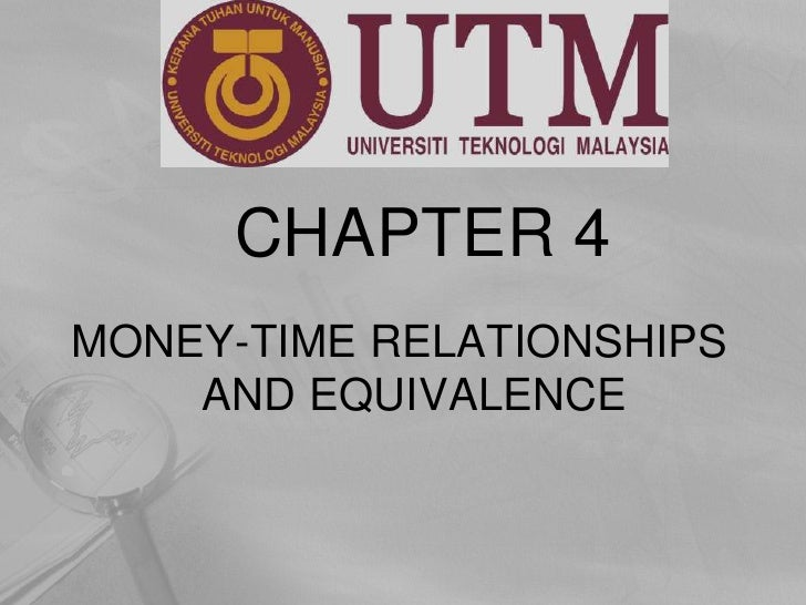 CHAPTER 4<br />MONEY-TIME RELATIONSHIPS AND EQUIVALENCE<br />