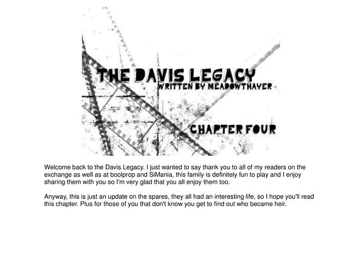 Welcome back to the Davis Legacy. I just wanted to say thank you to all of my readers on theexchange as well as at boolpro...