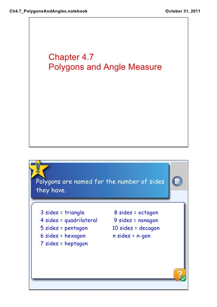 Ch4.7 Polygons and Angles