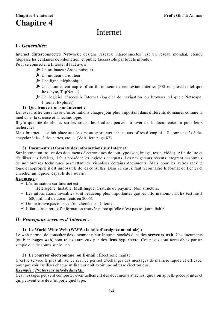 Chapitre 4 : Internet                                                                   Prof : Ghaïth AmmarChapitre 4     ...