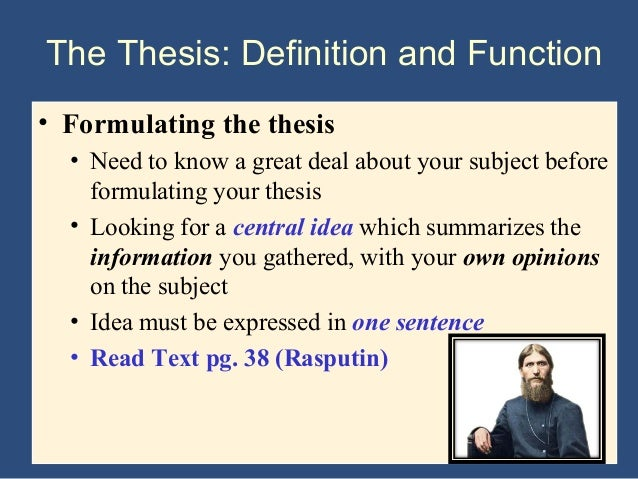 rules in formulating a thesis statement