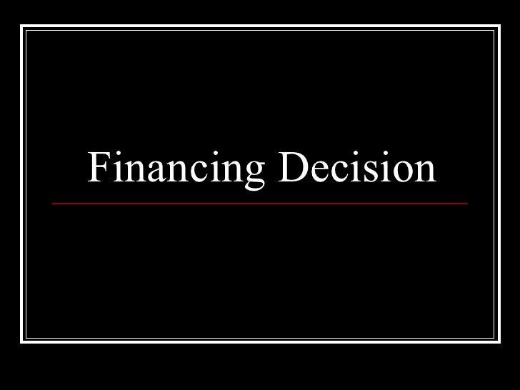 Financing Decision