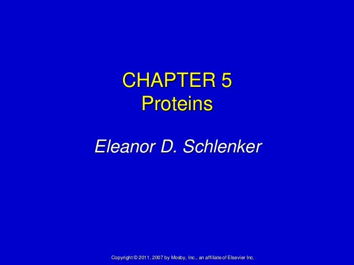 CHAPTER 5       ProteinsEleanor D. Schlenker  Copyright © 2011, 2007 by Mosby, Inc., an affiliate of Elsevier Inc.