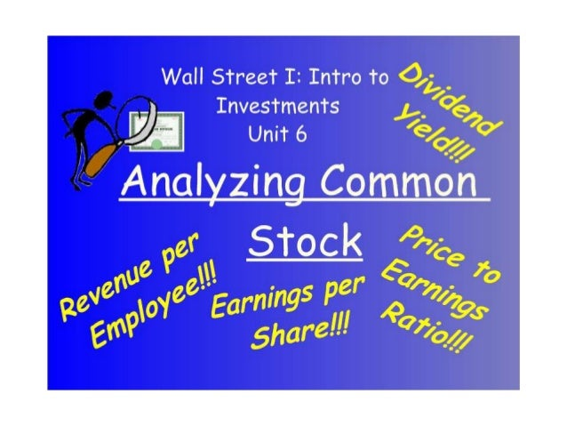 Ch 6   Analyzing Common Stock