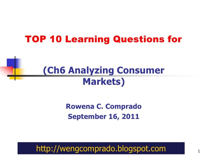 TOP 10 Learning Questions for<br />(Ch6 Analyzing Consumer Markets)<br />Rowena C. Comprado<br />September 16, 2011<br />1...