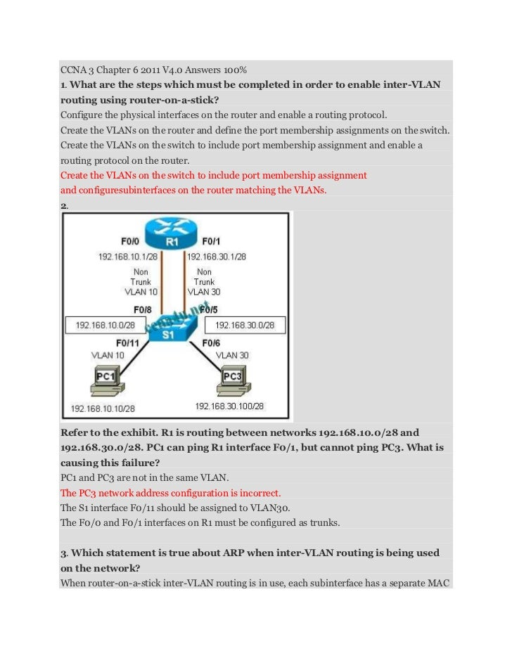 CCNA 3 Chapter 6 2011 V4.0 Answers 100%1. What are the steps which must be completed in order to enable inter-VLANrouting ...