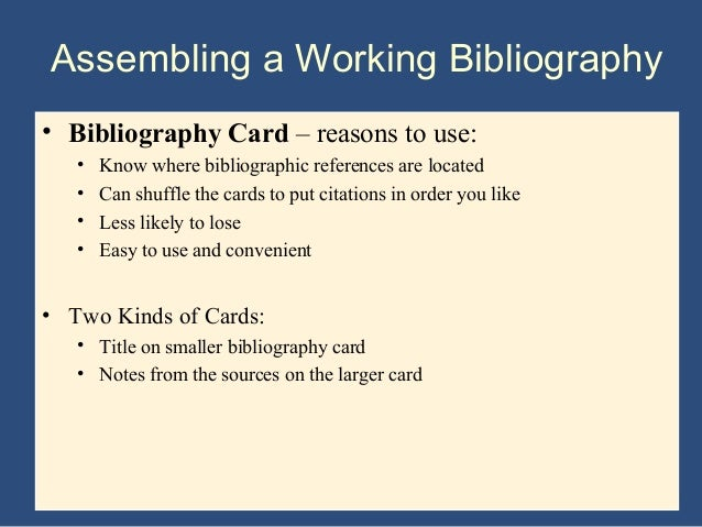 how to do a bibliography for a research paper