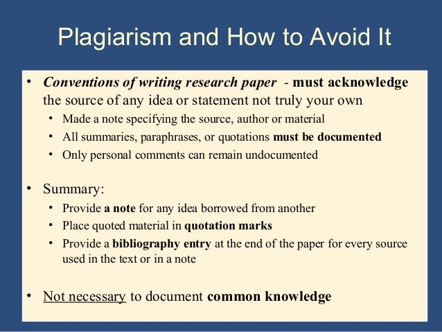 avoid plagiarizing research paper Plagiarism what it is, how to avoid it how do you avoid plagiarizing or words within the research paper and at the end of the paper in the bibliography.
