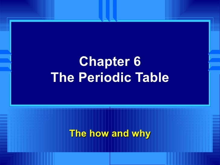 Chapter 6 The Periodic Table The how and why