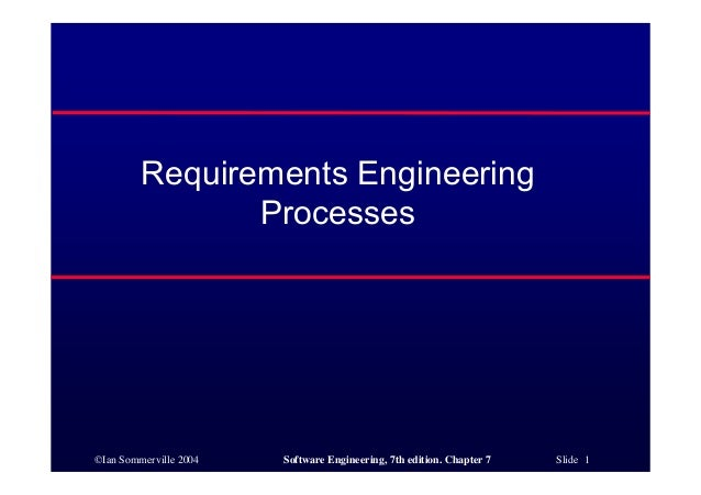 ©Ian Sommerville 2004 Software Engineering, 7th edition. Chapter 7 Slide 1 Requirements Engineering Processes