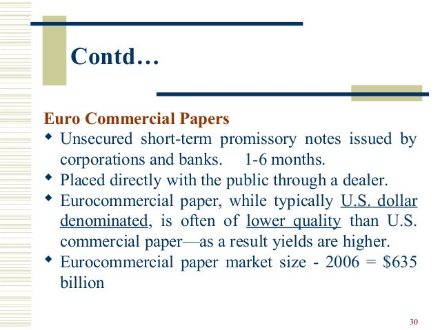What is meant by 'Commercial Paper'?