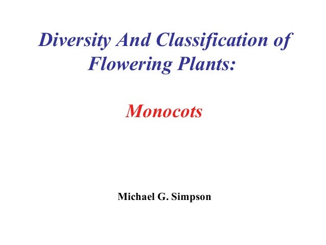 Diversity And Classification of Flowering Plants: Monocots Michael G. Simpson
