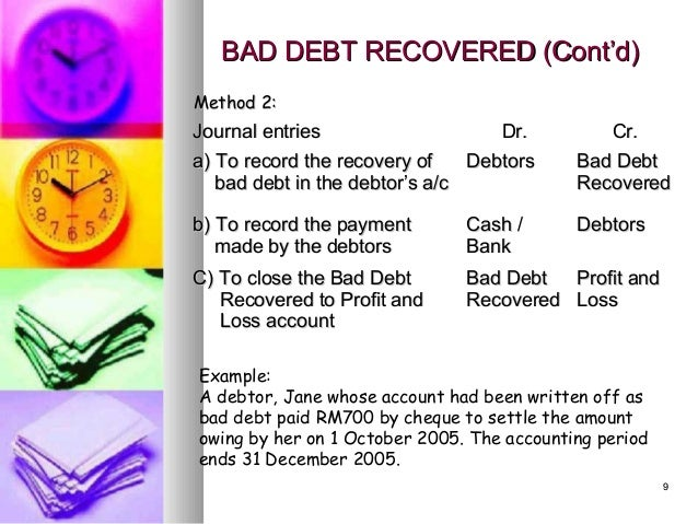 example of bad debt recovered The exact method you use to account for the recovery of a bad debt for example, if your sales for what happens when a bank writes off a bad debt how to.