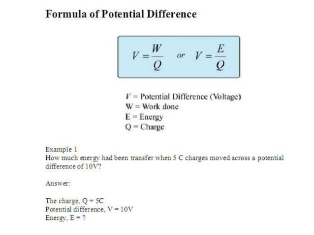 Electricity Charge Equation
