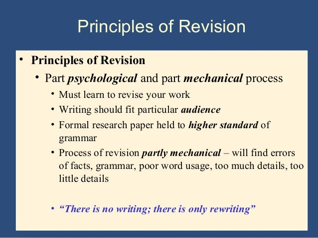 Tips for revising a research paper